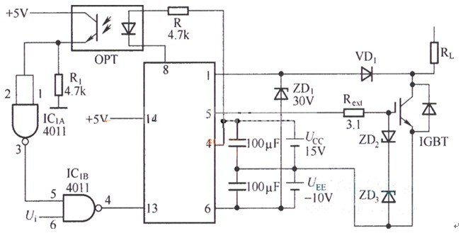 M57962L是日本三菱公司(现为ISAHAYA)生产的专门用于驱动IGBT的厚膜驱动器,它的内部集成了退饱和、检测和保护单元,当发生过电流时能快速响应,但慢速关断IGBT,并向外部电路给出故障信号。输出的正驱动电压为+15V,负驱动电压为-10V,它是由光电耦合器、接口电路、检测电路、定时复位电路以及门关断电路组成。 M57962L是N沟道大功率IGBT模块的驱动电路,能驱动600V/400A和1200V/400A的IGBT 特点: 1、采用快递型光电耦合器,适合20KHz左右高频开关运行,光电耦合器的